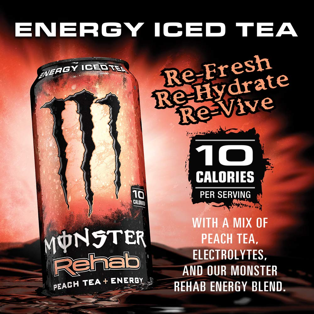 Monster Rehab Peach Tea + Energy, Energy Iced Tea, 15.5 Ounce (Pack of 24) by Monster Energy (Image #4)