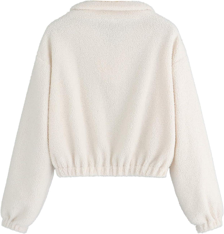 Shein Fleece Top Puffy Teddy Bishop Long Women's Zip Sleeve qpSUMzVG