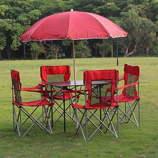 zhediezhuo Patio al aire libre césped plegable mesa y sillas con ...