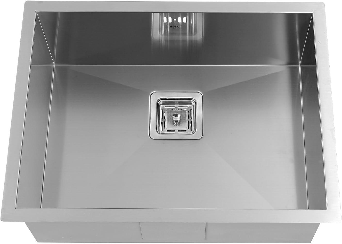 ENKI /Évier compact /à encastrer 1 bac carr/é acier inoxydable satin/ée