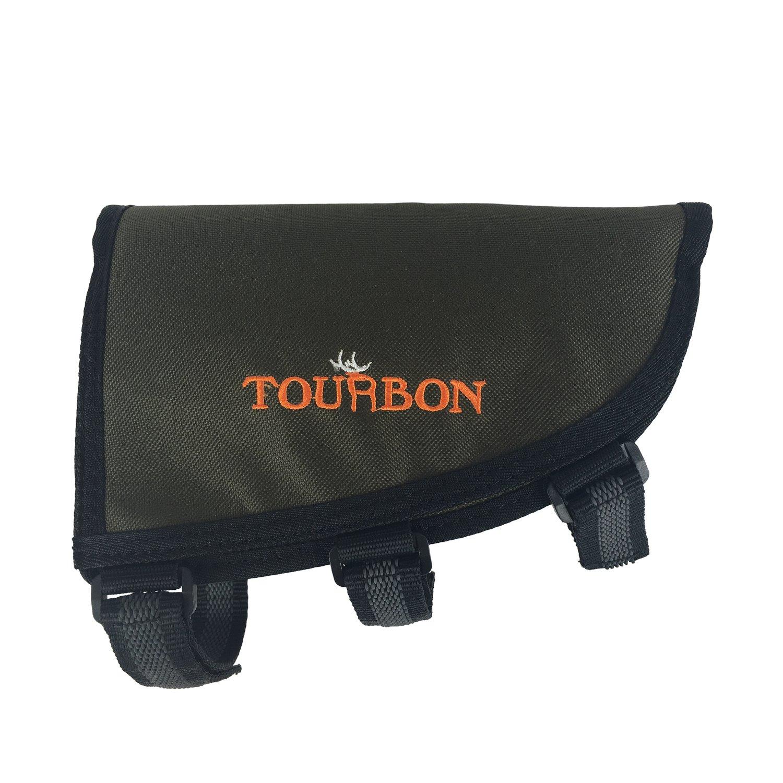 TOURBON Hunting Left-Hander Buttstock Shell Holder Adjustable Rifle Cheek Rest Pad -Classic Green