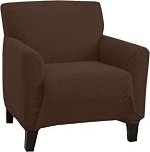 Stretch Chair Slipcover. Form Fit, Slip Resistant, Strapless Slipcover. Knitted Jacquard Stretch Arm Chair Slipcover. Harlowe Collection (Chair, Chocolate)