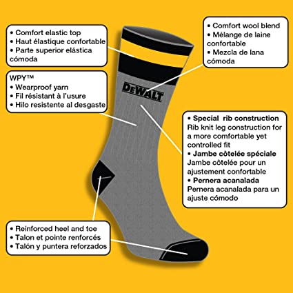DeWALT Mens 2 Pack Wool Blend Boot Crew Socks (Black & Gray) at Amazon Mens Clothing store: