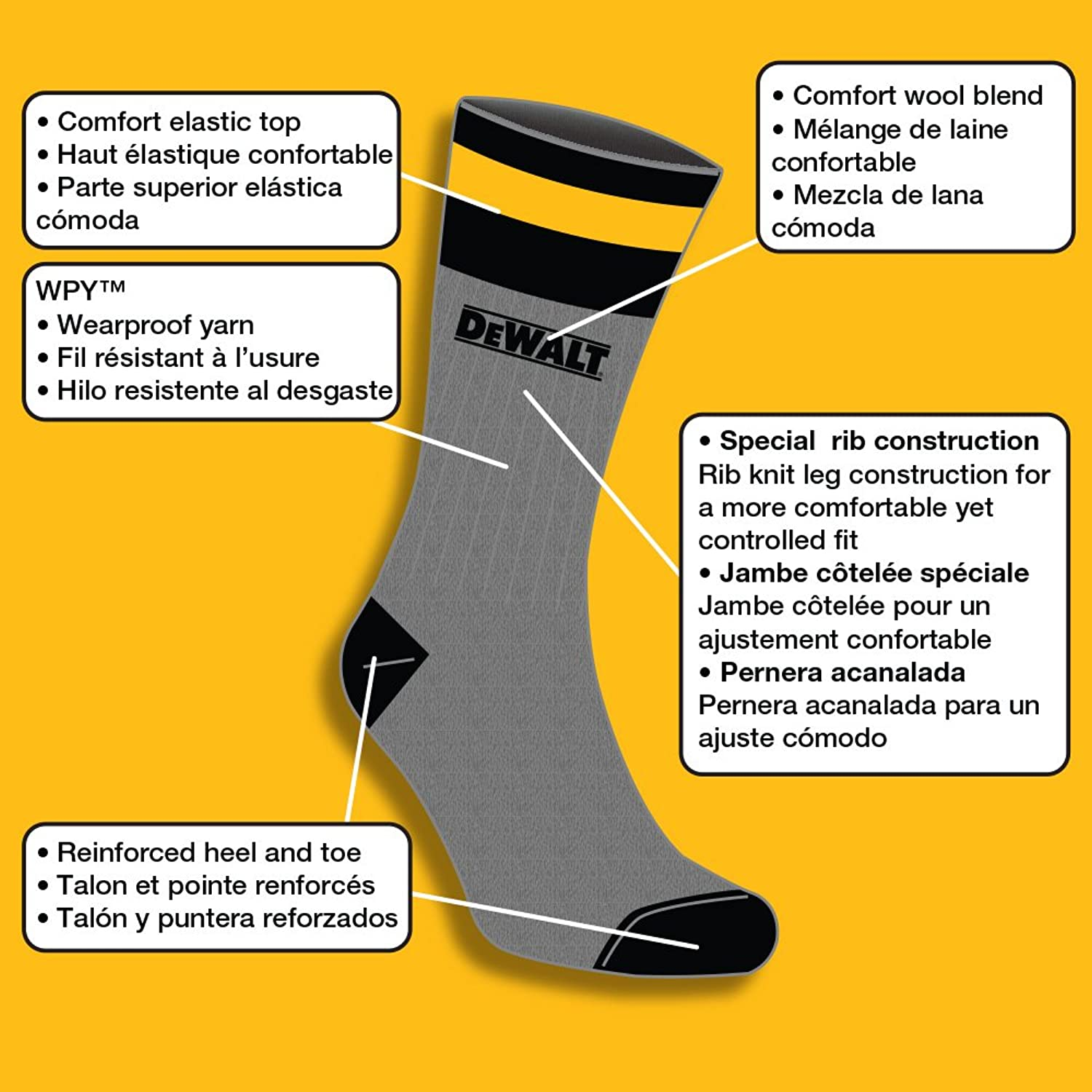 DeWALT Mens 2 Pack Wool Blend Boot Crew Socks (Black & Yellow), 10-13 Sock/6-12 Shoe at Amazon Mens Clothing store: