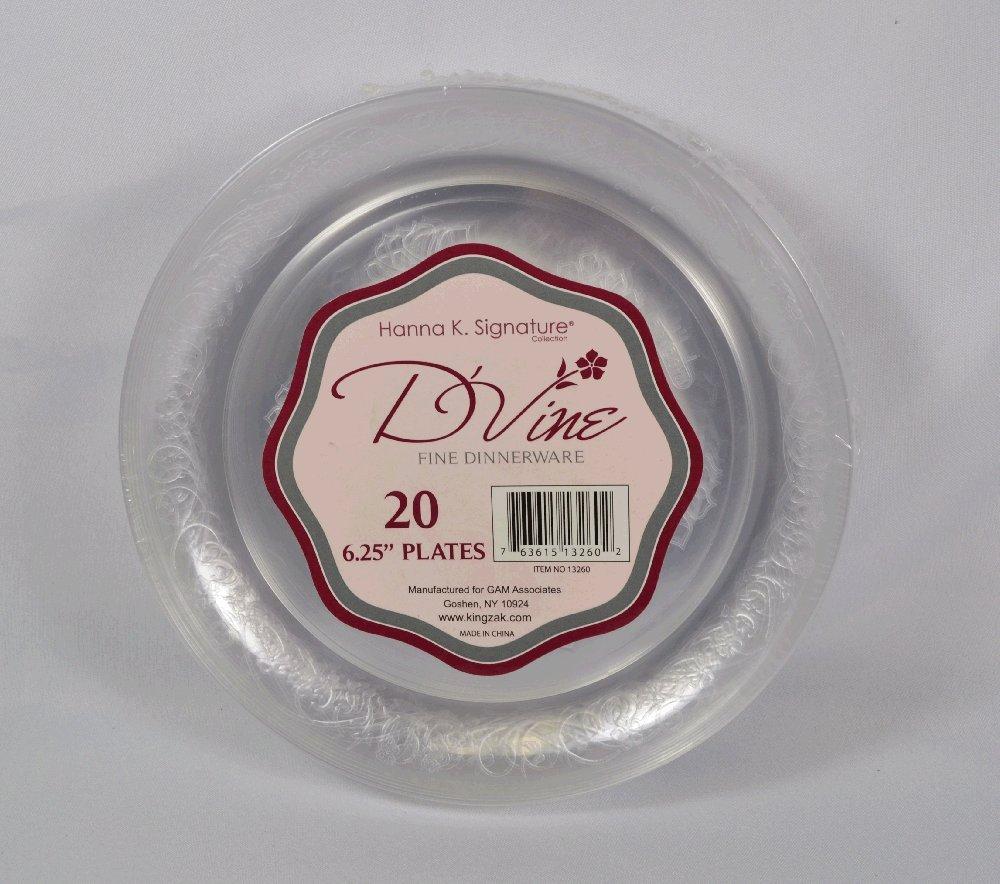 Amazon.com 20 ct Plastic 6.25  Clear Dessert Plates Wedding Party Du0027Vine Kitchen u0026 Dining & Amazon.com: 20 ct Plastic 6.25