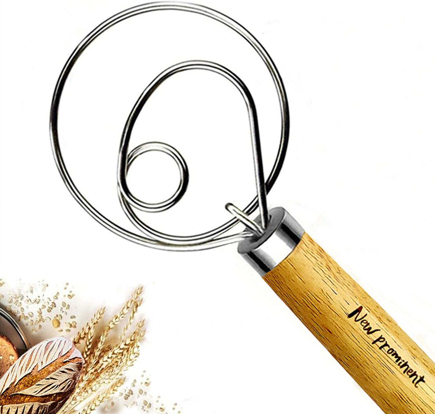 Details about  /Danish Dough Whisk Stainless Steel Egg Beater with Wooden Handle for Kitchen