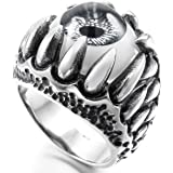 MunkiMix Stainless Steel Ring Silver Black Grey White Skull Dragon Claw Evil Devil Eye Gothic Biker Men