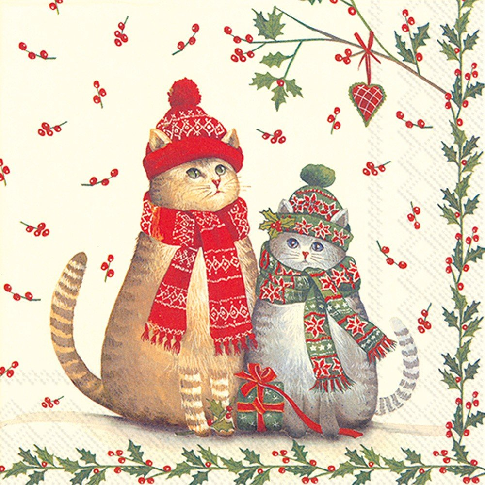 Ideal Home Range 20 Count Cocktail Napkins, Christmas Cats