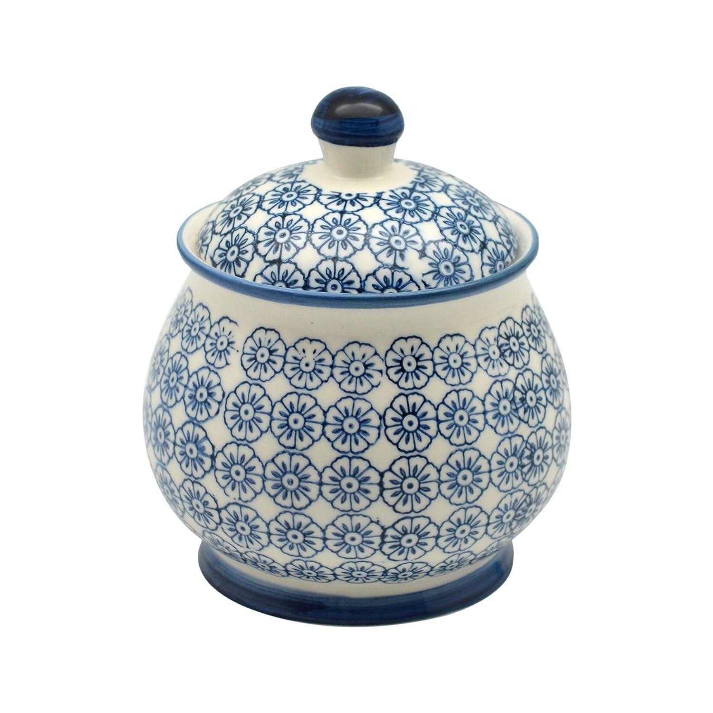 Nicola Spring Patterned Sugar Bowl/Pot with Lid - Blue Flower
