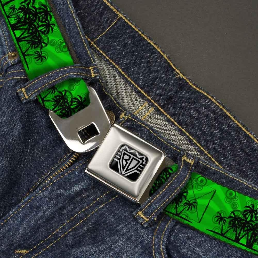 1.0 Wide Buckle-Down Seatbelt Belt Palm Trees Greens//Black 20-36 Inches in Length