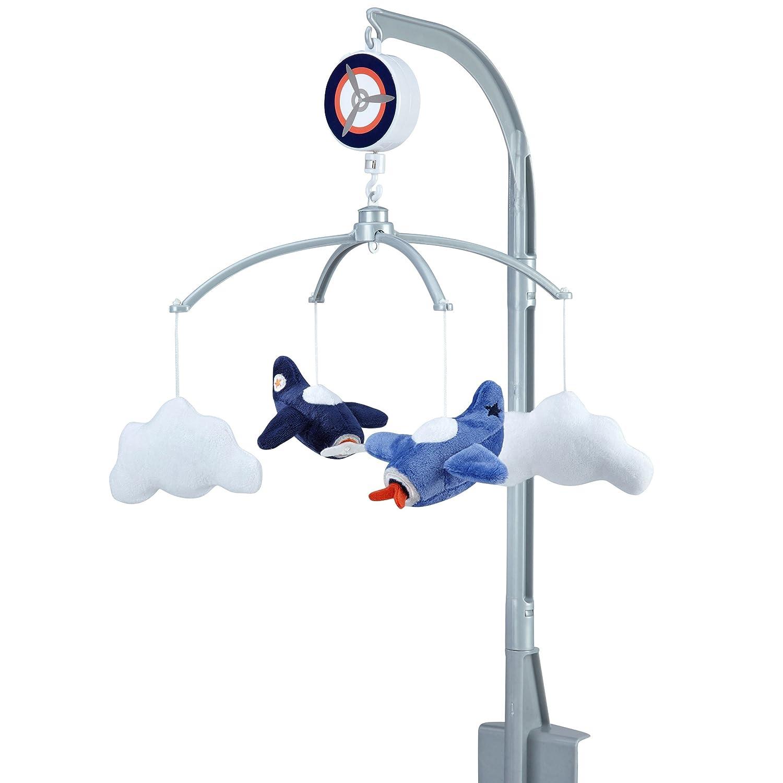 Carter's Take Flight Airplane/Cloud Nursery Crib Musical Mobile, Blue, Navy, Grey, Orange