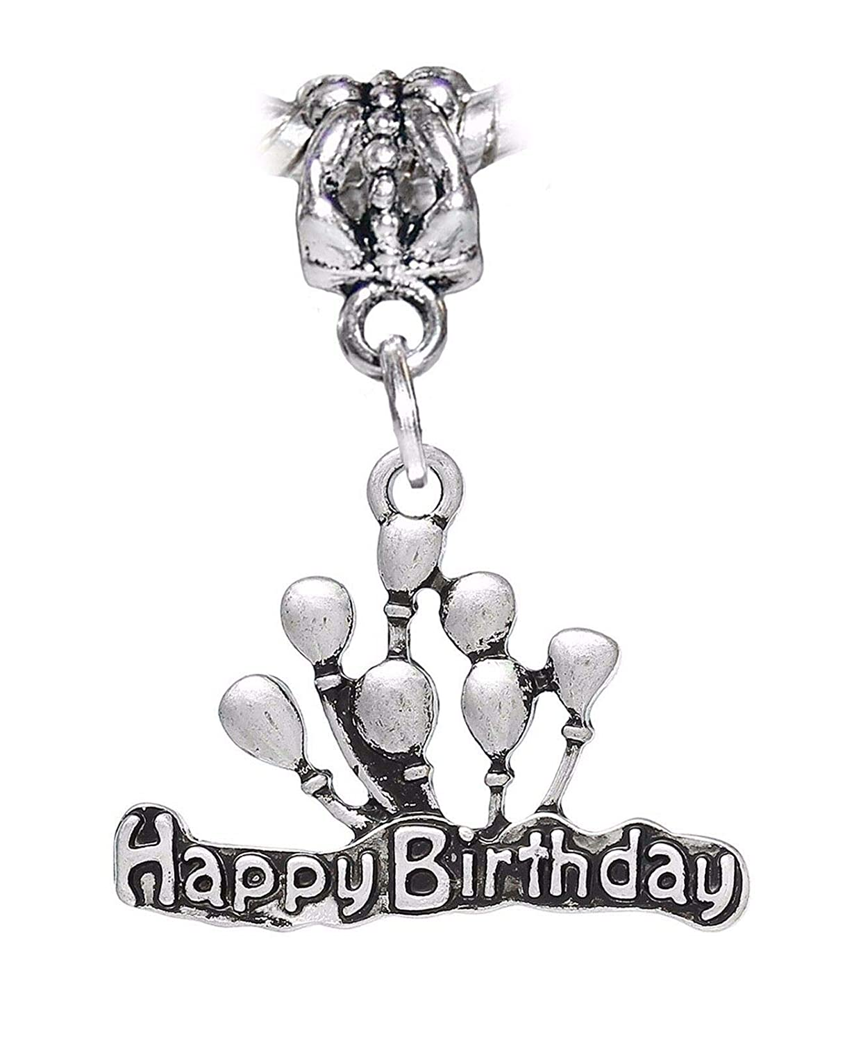 Happy Birthday Balloons Word Party Gift Dangle Charm for European Bead Bracelets