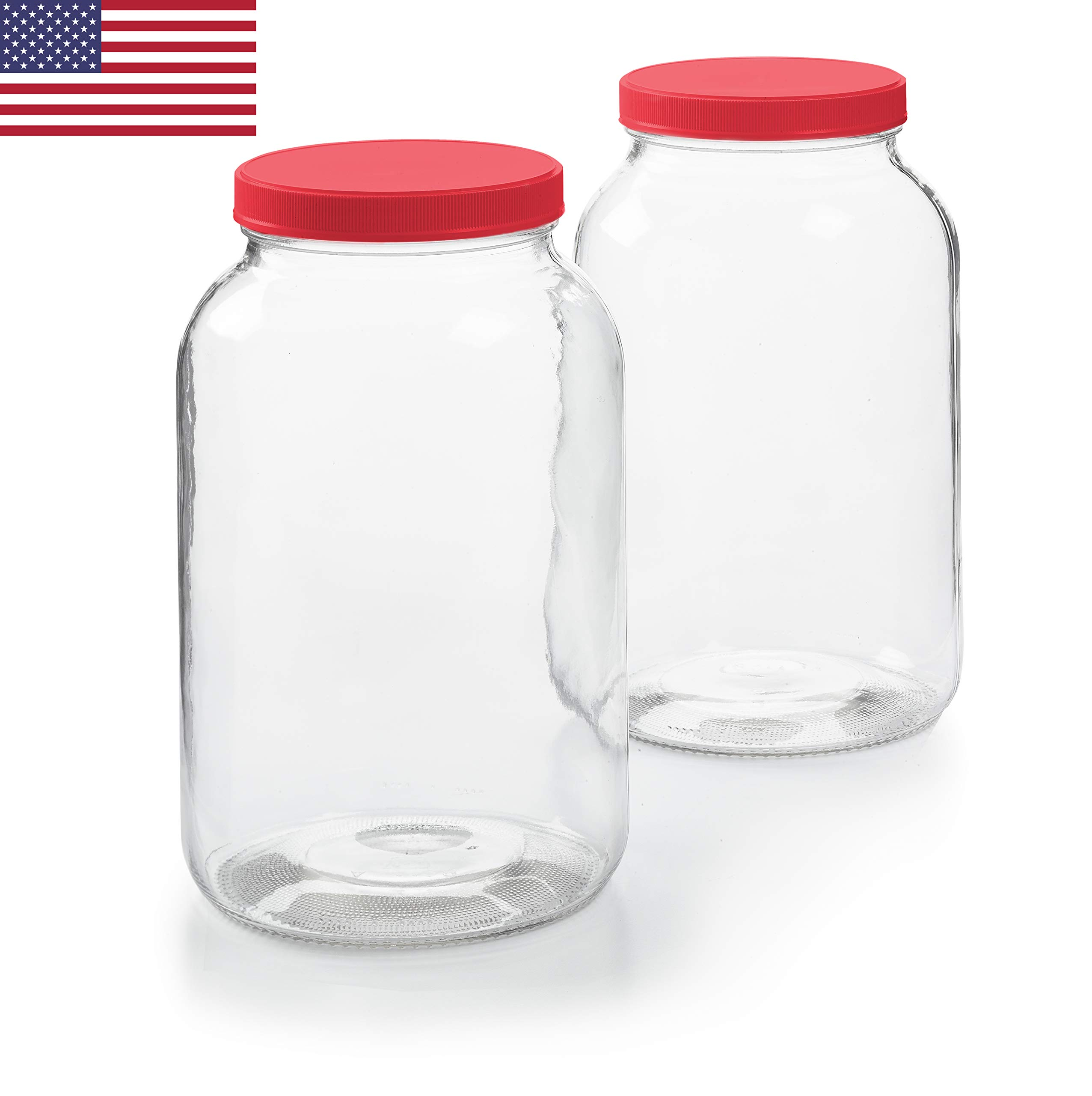 2 Pack - 1 Gallon Glass Jar w/Plastic Airtight Lid, Muslin Cloth, Rubber Band - Made in USA, Wide Mouth Easy to Clean - BPA Free - Kombucha, Kefir, Canning, Sun Tea, Fermentation, Food Storage by Vibz