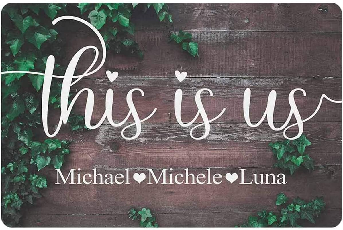 aianhe This is us Sign Personalized Family Wall Decor Sign Home Accessories Custom Bedroom Living Room Metal Wood Decorative