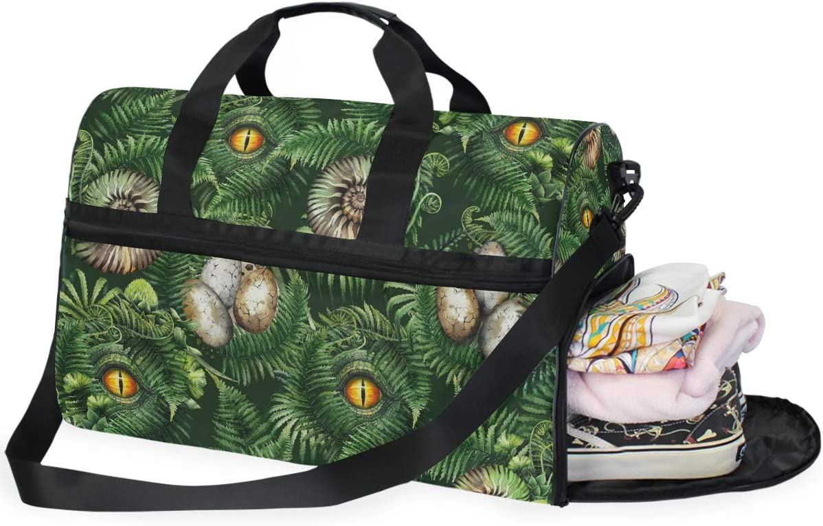 Dinosaur Body Sports Gym Bag with Shoes Compartment Travel Duffel Bag for Men and Women