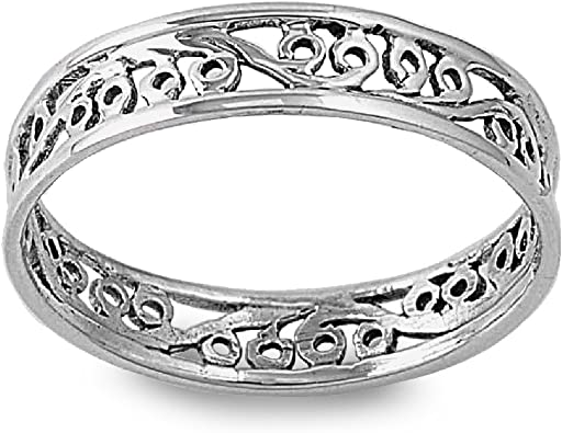 Princess Kylie 925 Sterling Silver Round Rope Stackable Band Ring