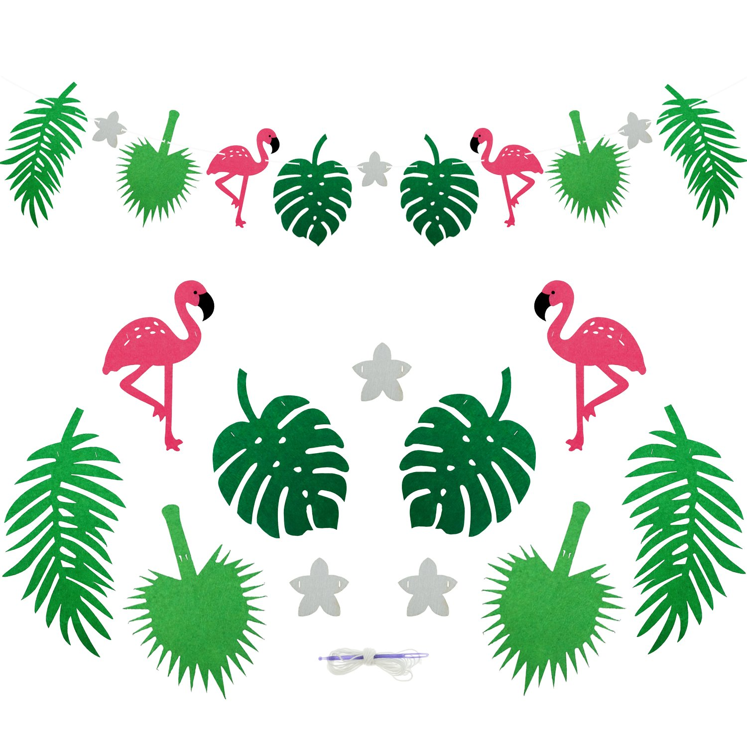 Amazon.com: Bilipala Flamingo Pineapple Tropical Leaves Banner ...