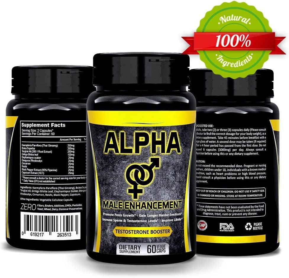 Natural ALPHA Male Supplement Pills - Enlargement Booster Increases Energy, Mood & Endurance
