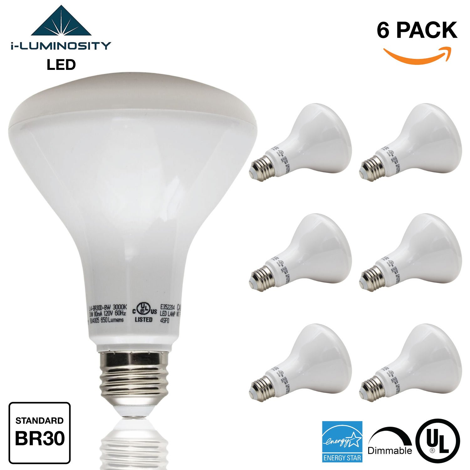 LED Light Bulbs BR30 Standard Medium - 6 Pack - 65W Equivalent - Standard E26 base - Dimmable & Instant On - Standard Bulb Great for Lower Ceiling