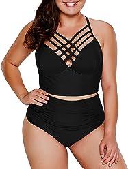 f60ff345289 Dearlove Women s Plus Size Strappy High Waist Bikini Swimsuit M-XXXL