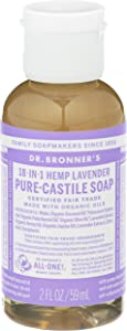 Dr. Bronner's - Pure-Castile Liquid Soap (Lavender, 2 ounce) - Made with Organic Oils, 18-in-1 Uses: Face, Body, Hair, Laundry, Pets and Dishes, Concentrated, Vegan, Non-GMO