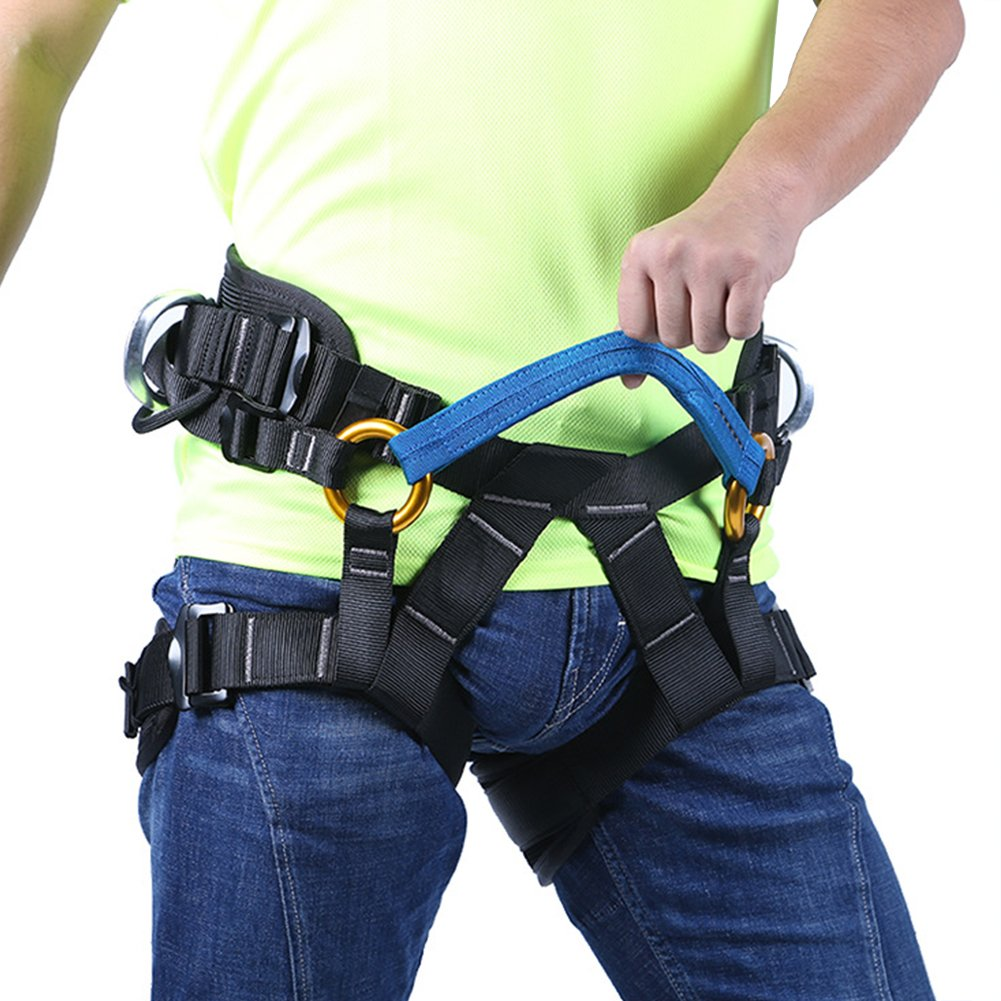 Adjustable Mountain Climbing Safety Belt Multipurpose Outdoor Half Body Harness Equipmen Safe Seat Belts For Mountaineering Fire Rescue Higher Level Women Man Child Thicken Professional High Guide Equipment Rock Tree Trimming Work High-Altitude Operation (