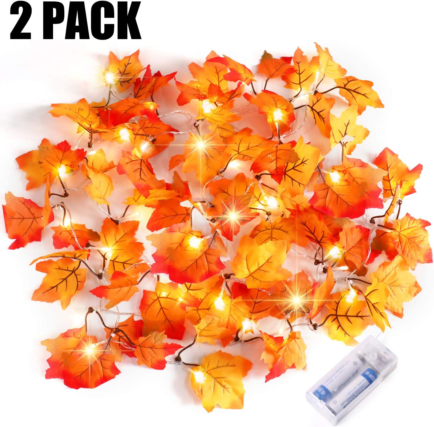 Severino Fall Decor Lighted Fall Garland String Lights for Indoor Outdoor Home, HalloweenDecorations, Halloween Party fall leaf garland Waterproof Maple Leaf String Lights - 2 X 20 LED, 16 Feet