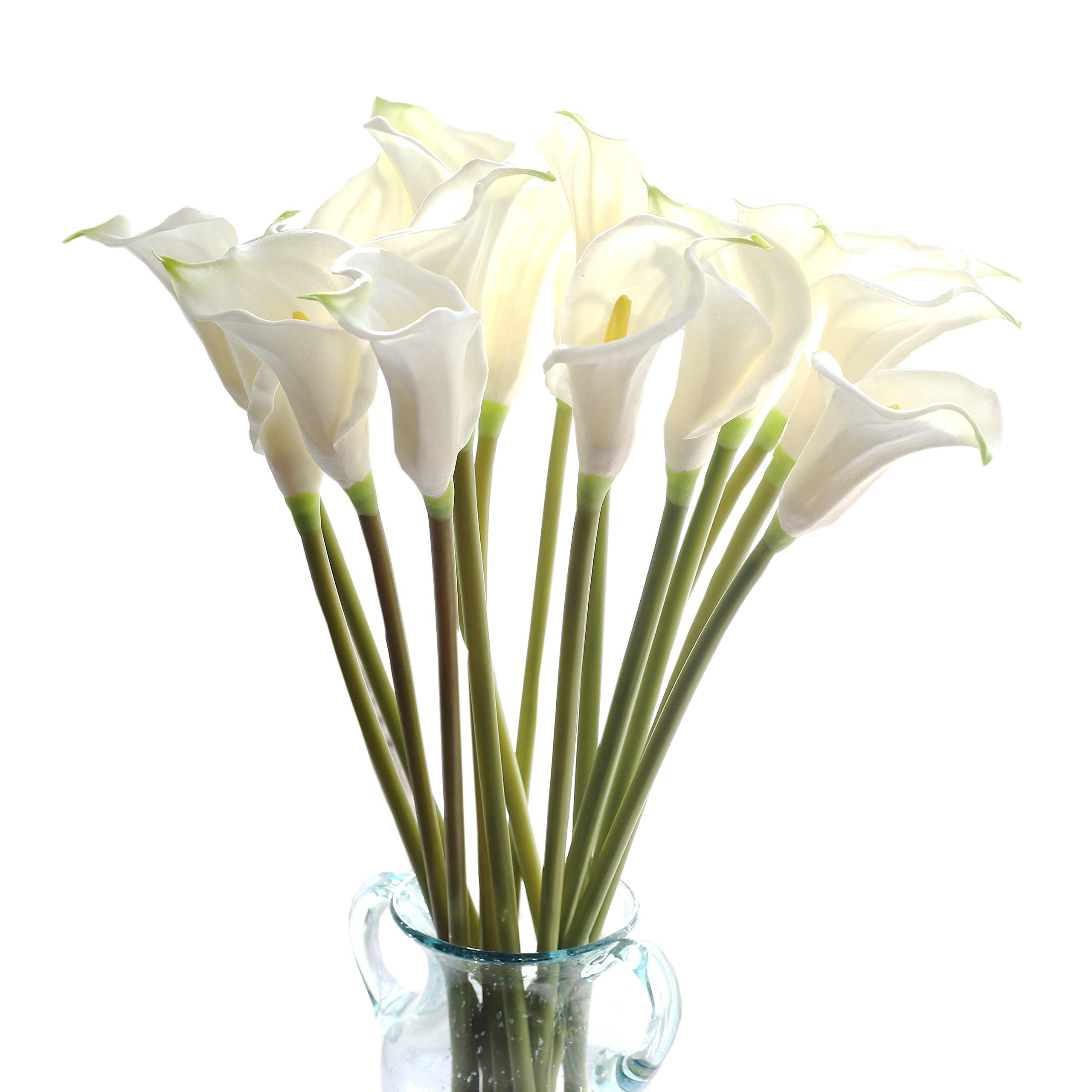 cn-Knight Artificial Flower 10pcs 26'' Long Stem Calla Lily Faux PU Flower Fake Arum Lily for Wedding Bridal Bouquet Bridesmaid Home Décor Office Baby Shower Centerpiece Reception(White) by cn-Knight