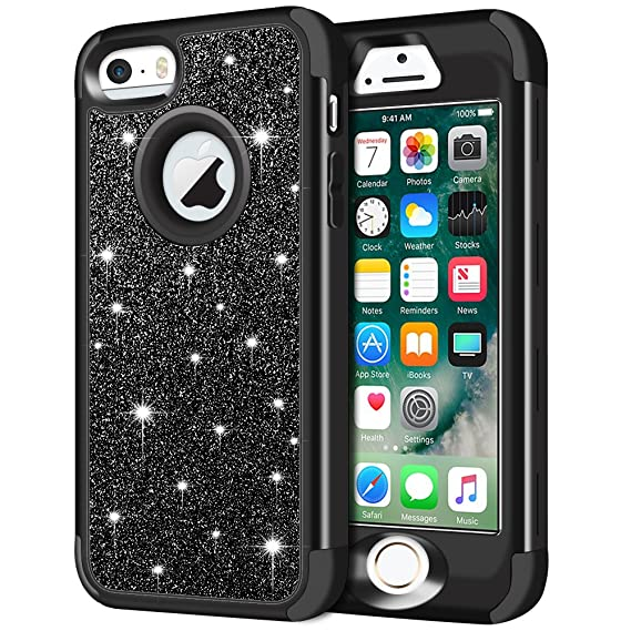 promo code 610ac 40e4c iPhone SE Case, iPhone 5S Case, iPhone 5 Case, Anuck 3 in 1 Hybrid  Shockproof Protective Case for Girls Cute Bling Sparkly Glitter Heavy Duty  Armor ...