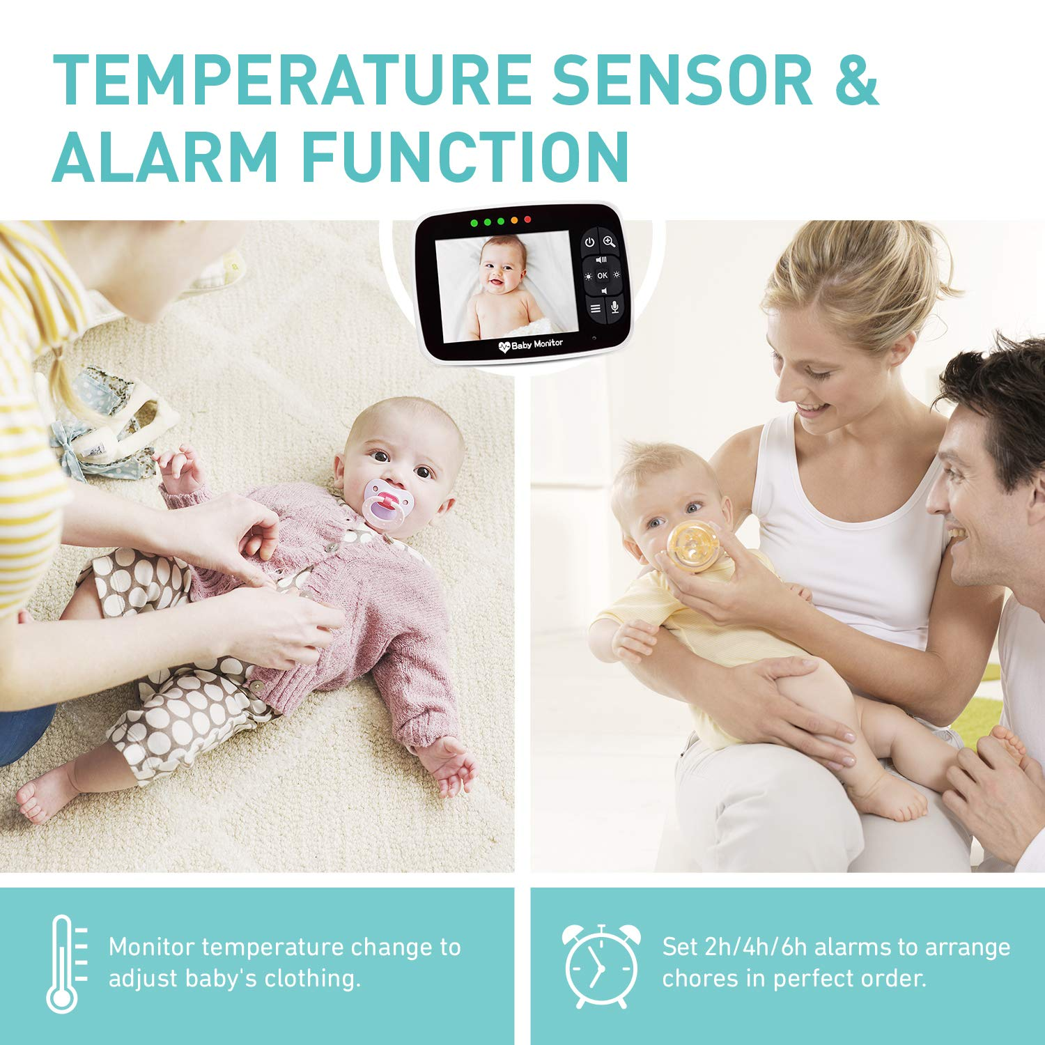 Baby Monitor, Video Baby Monitor with 3.5 inch LCD Screen Display Infant Night Vision Camera,Two Way Audio,Temperature Sensor,ECO Mode,Lullabies and Long Transmission Range by Babebay (Image #5)