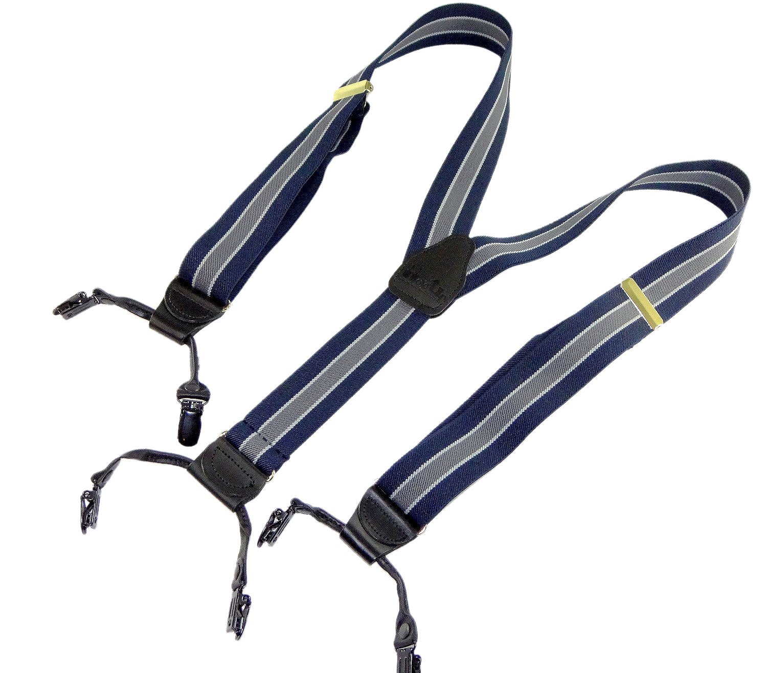 Hold-Ups Double-up Style Navy Blue with Gray and White Striped dressy suspenders