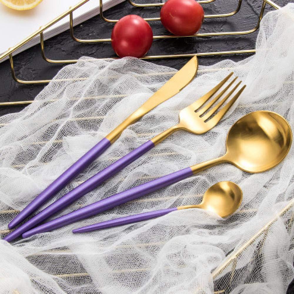 Cutlery Set Fashion Tableware Set Stainless Steel Cutlery 4pc Western Food Tableware Luxury Fork Teaspoon Knife Cutlery Set (Color : Purple) by Sihui