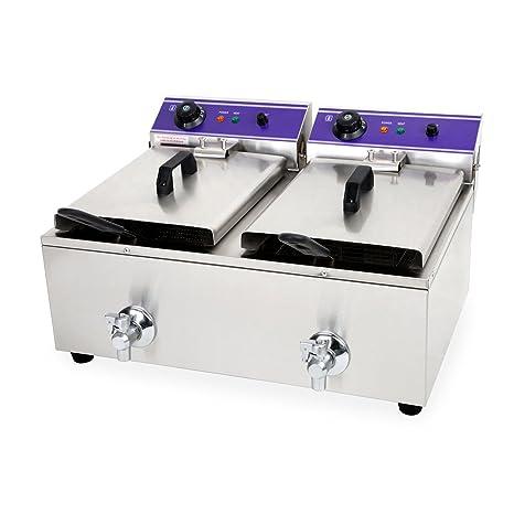 Vertes 2x 10L Doble Freidora eléctrica profesional de acero inox (2x 3000 vatios, Válvula