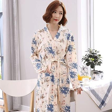 4619d24fe616 Bathrobe ZLR Autumn Winter Lady Long-sleeved Sleep Robe Pure Cotton Fashion  Pajamas Middle Long