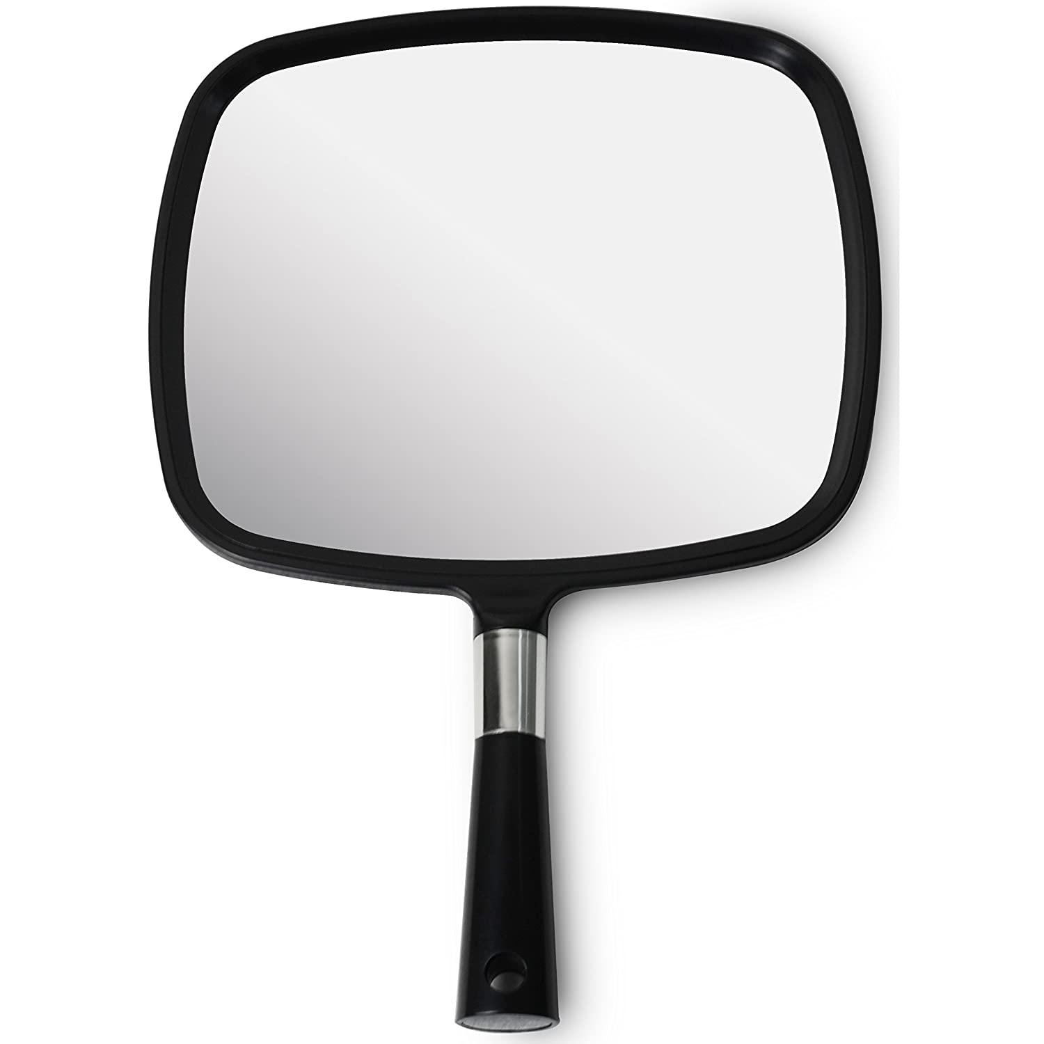 Mirrorvana Large & Comfy Hand Held Mirror (2017 Barber Model in Black) Improved Sticker