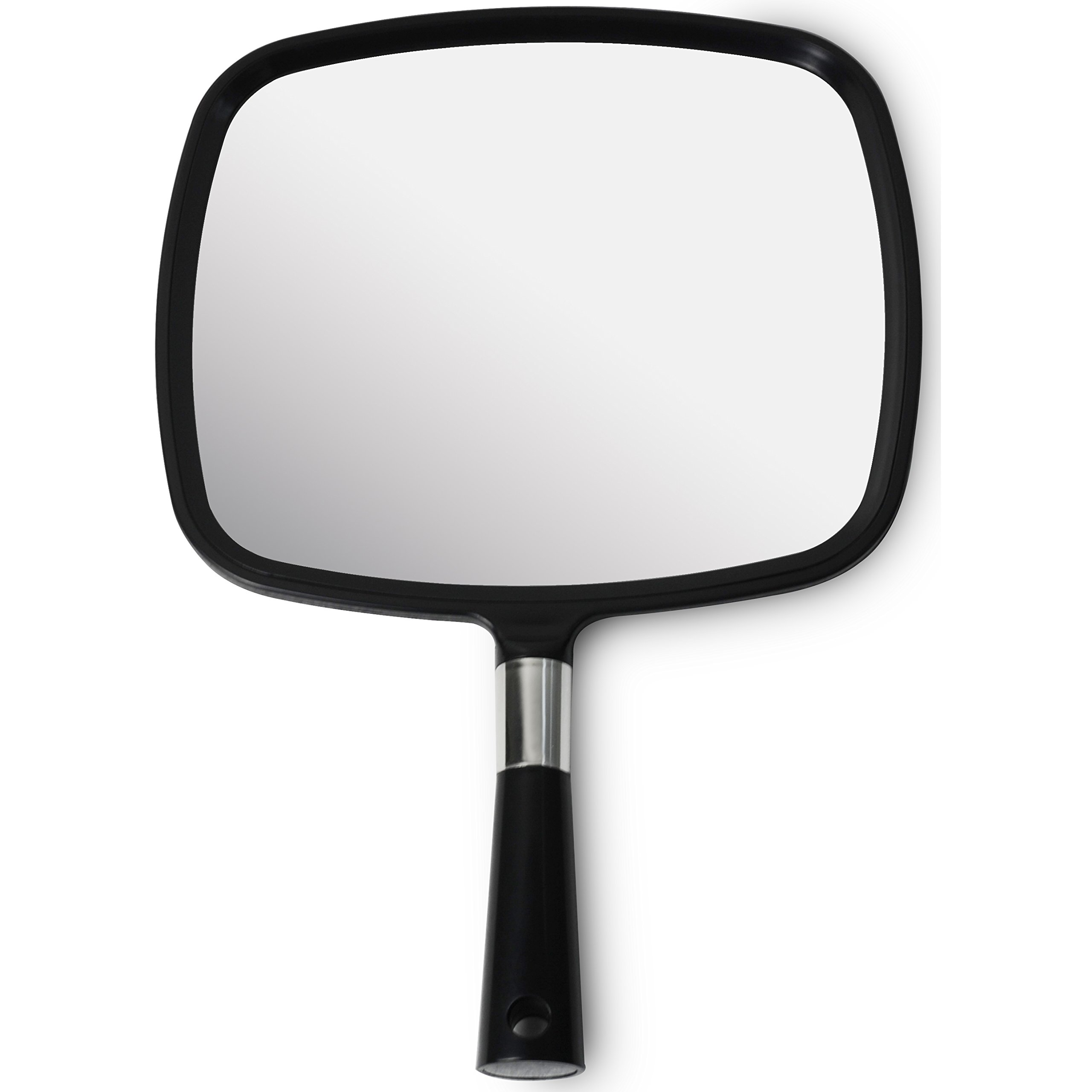 Mirrorvana Large & Comfy Hand Held Mirror (2017 Barber Model in Black) | New Improved Sticker