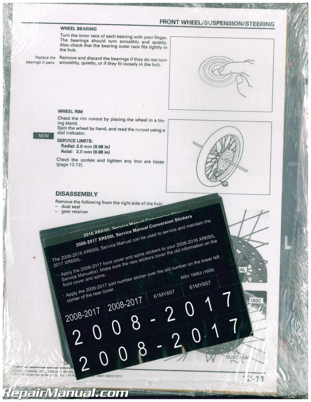 61my657 2008 2017 Honda Xr650l Dual Sport Motorcycle Service Manual Wiring Diagram 2004 Manufacturer Books