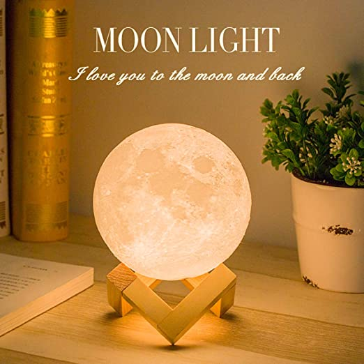 3D Printing Moon Lamp Moon Light Night Light Kids Gift 16 Colors Women USB Charging Touch /& Remote Control Brightness Decorative with Wooden Stand Birthday Party Warm Cool White Lunar Large 7.1 Inch