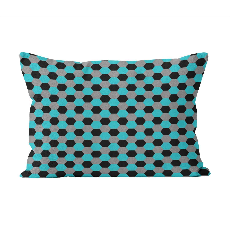Sokiiy Aqua Black Gray Hexagons Cute Hidden Zipper Home Decorative Rectangle Throw Pillow Cover Cushion Case Standard 20x26 Inch One Side Design Printed Pillowcase