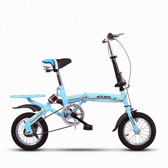 FEIFEI Bicicleta plegable de 12 pulgadas Mini pequeña amortiguación ultraligera portátil no ocupa la bicicleta de espacio para niños (Color : Blanco): ...