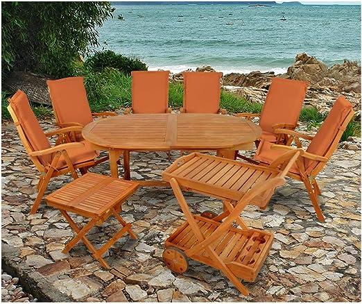 Indoba XL - Juego de muebles de jardín (15 piezas) Juego de mesa y sillas de jardín con cojines, color terracota: Amazon.es: Jardín