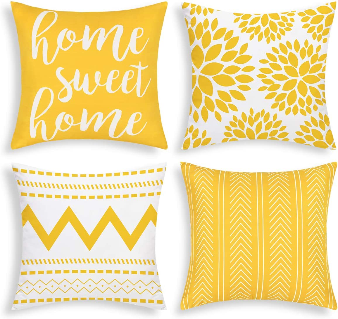 Yastouay Geometric Throw Pillow Covers Set of 4 Modern Decorative Pillowcases Home Sweet Home Pillow Covers Outdoor Cushion Covers for Couch Sofa Bedroom(Yellow, 18 x 18 Inch)