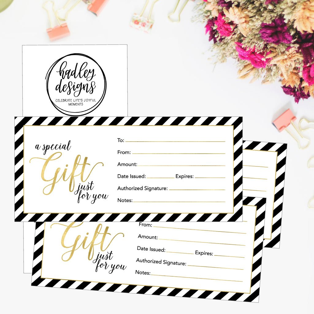 25 4x9 Cute Blank Gift Certificate Cards For Business, Restaurant, Spa, Beauty Makeup Hair Salon, Wedding, Bridal, Baby Shower Print Custom Personalized Bulk Template Kit Forms Printable by Hadley Designs (Image #5)
