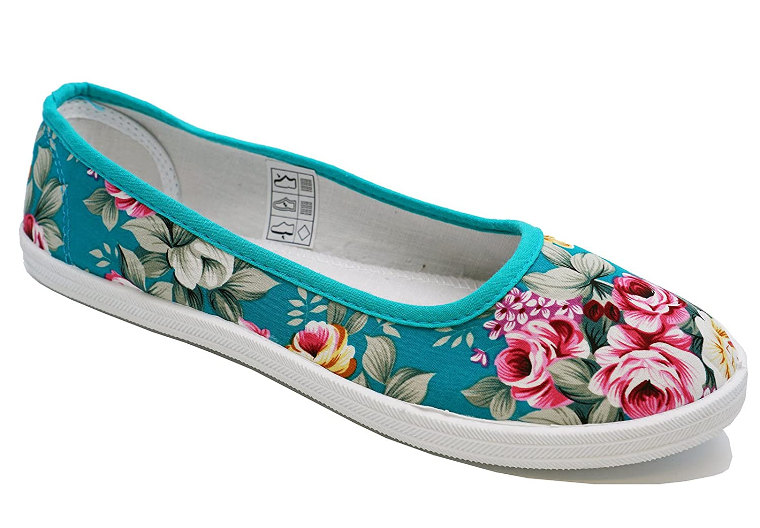b48bf3151e3 Ladies Green Floral Canvas Flat Slip-On Plimsoll Pumps Casual Shoes Sizes  3-8  Amazon.co.uk  Shoes   Bags