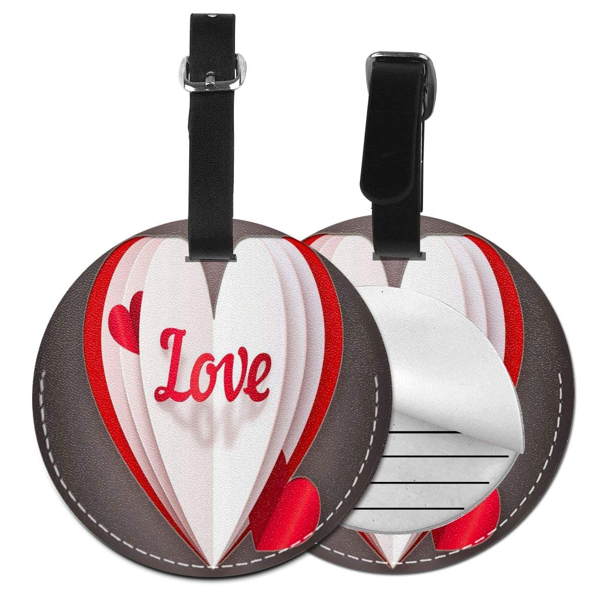 Folded Heart Shape Round Leather Luggage Id Tag Suitcase Backpacks Labels Bag 4 Pack by Rachel Dora