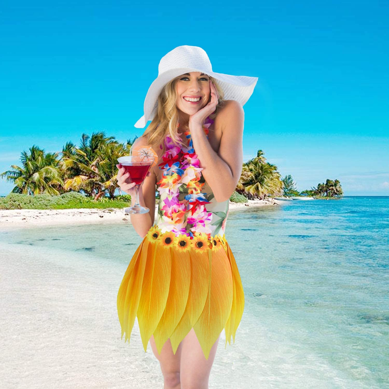 Hawaiian Tropical Hula Skirt Luau Party Yellow Leaf Sunflower Leis Headband Bracelets Garland Costume Set 5pcs