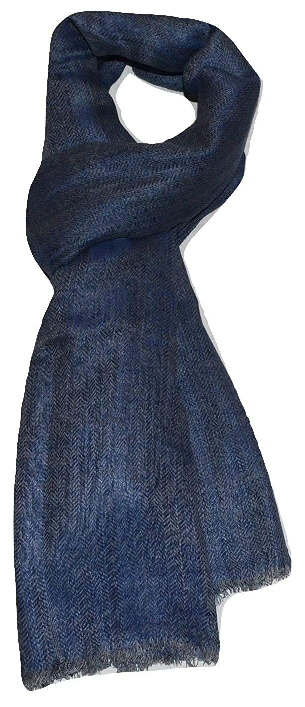 Denim bluee & Grey 100% Linen, Two Tone color, Herringbone Jacquard, Soft, Airy, Large, Linen scarf.