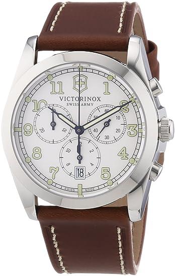 Victorinox Swiss Army 241568 - Reloj cronógrafo de cuarzo para hombre con correa de piel, color marrón: Amazon.es: Relojes