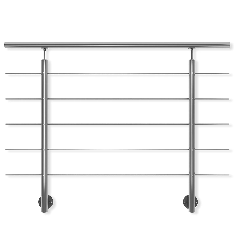 DOLLE Edelstahl Geländer Seitenmontage   Länge 1,5 m; Höhe 1 m   witterungsbeständig   für Treppe, Balkon, Brüstung & Terrasse Brüstung & Terrasse