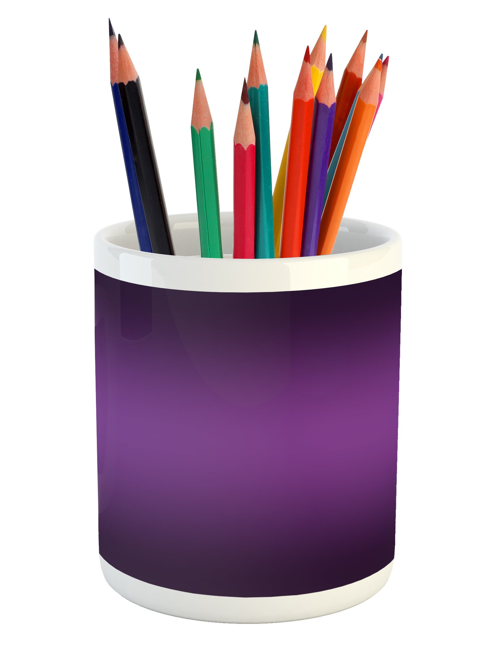 Ambesonne Ombre Pencil Pen Holder, Cinema Curtain Movies Series Inspired Color Ombre Design Digital Artsy Styled Print Image, Printed Ceramic Pencil Pen Holder for Desk Office Accessory, Purple